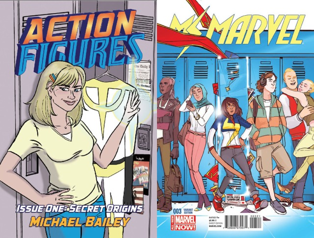 Action Figures #1 at left, by Tricia Lupien; Ms. Marvel #3, at right, by Annie Wu.