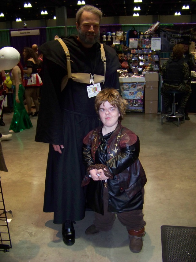 Hodor and Tyrion -- who were two separate attendees who just happened to be in my wife's booth at the same time. Hodor had a backpack with Brann, too.