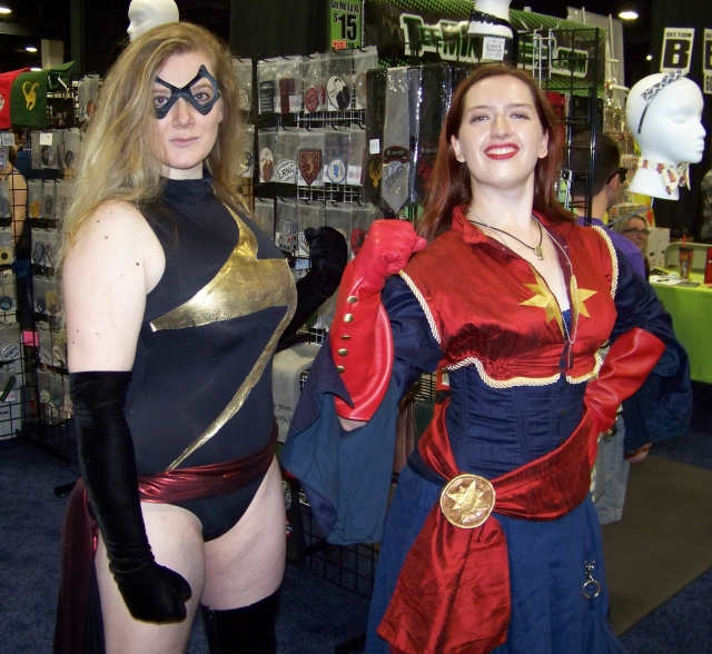 My friends Lara (who, cheap plug, runs Black Cat Tours in Salem) and Kate as two iterations of Captain Marvel.