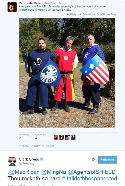 My friends Carlos, Greg, and Artemis in their cool Marvel kinghtly surcoats.