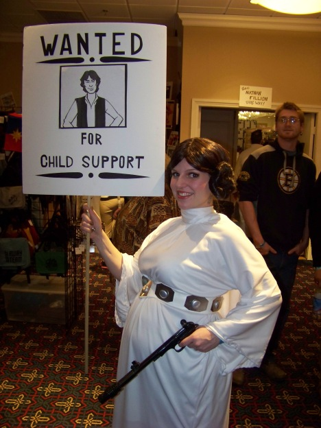 "My favorite of the con. The back of the sign reads, ""Han Shot First."""