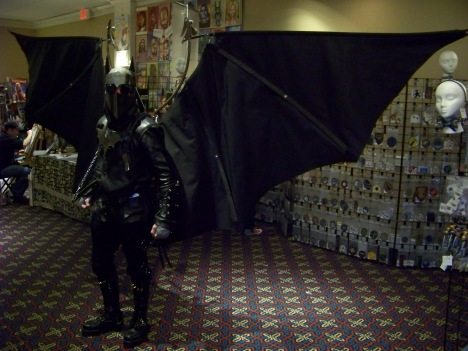 Steampunk Batman with a kick-ass wing rig.