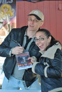 Me and my friend Rachel, in the role of enthusiastic fan. Photo by Lauren Dubois.