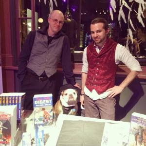 The author, fellow writer J.M. Aucoin, and our sales associate Beatrix.